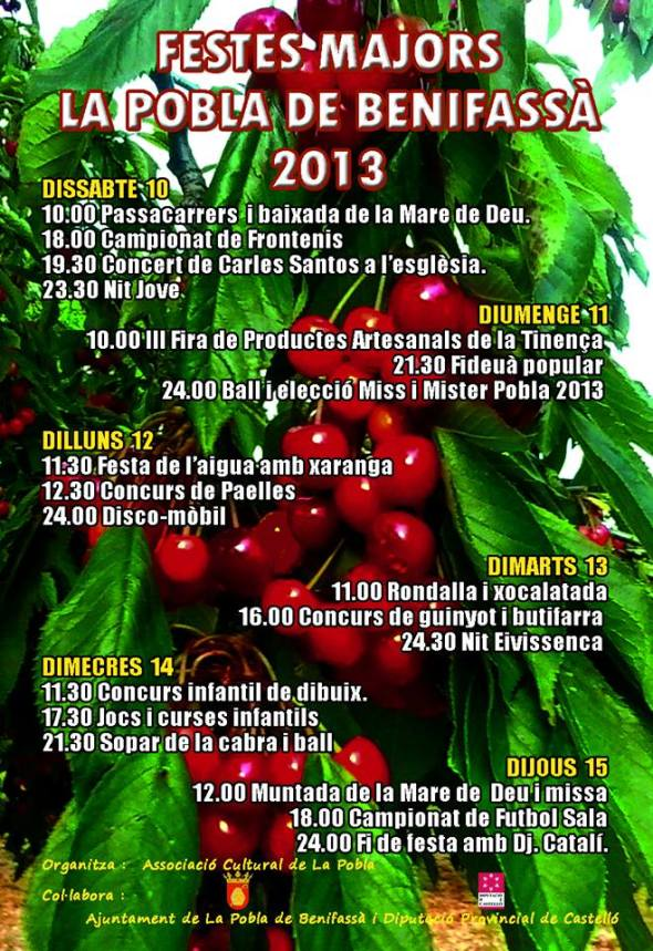 FIESTAS LA POBLA DE BENIFASSA  2013